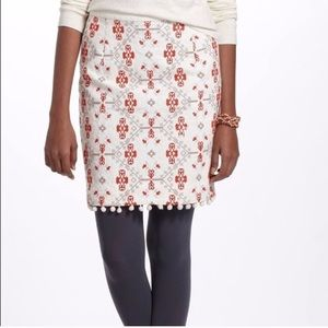 Anthropologie Maeve Embroidered Blomma Skirt